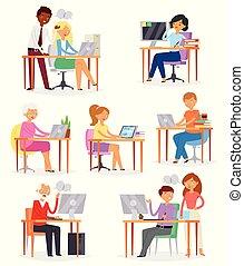 La gente trabaja en un lugar de trabajo de vendedor de vectores o una persona que trabaja en portátiles en la mesa de ilustración de oficinas de mujer o personaje de hombre con ordenador en el lugar de trabajo aislado en el fondo blanco