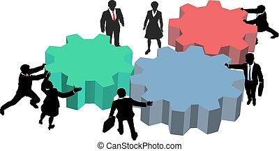 La gente trabaja juntos en un plan de negocios tecnológico