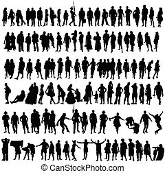 La gente vector negro silueta hombre y mujer