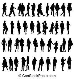 La gente vectoriza ilustraciones de siluetas