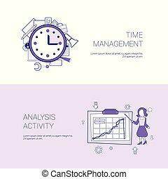 La gestión del tiempo y el concepto de actividad de la actividad de la plantilla web con copia del espacio