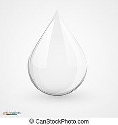 La gota de agua en blanco aislado.