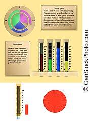 La gráfica de pastel infográfico con escala