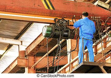 La grúa de mantenimiento del puente
