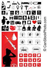 La gran colección de iconos médicos. Una ilustración del vector