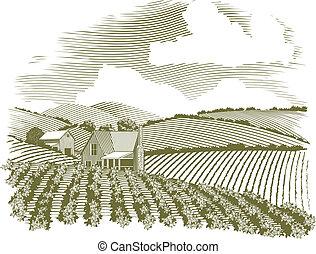 La granja rural Woodcut