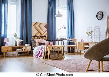 La habitación de la chica rosa y azul