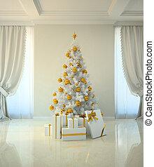 La habitación del árbol de Navidad al estilo clásico