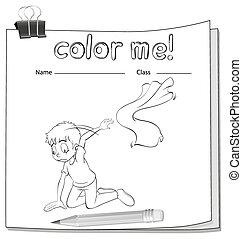 La hoja de color con un chico