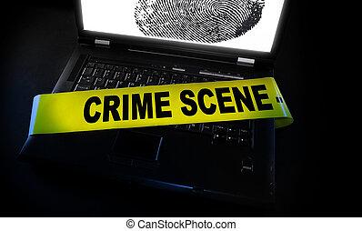 La huella dactilar con cinta de escena del crimen