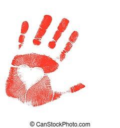 La huella de la mano del amor. Vector