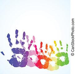 La huella de la mano del vector es de color abstracto