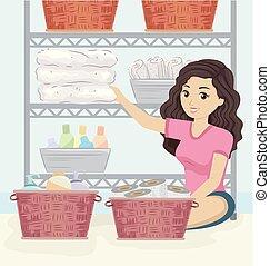 La ilustración de baños de chicas adolescentes