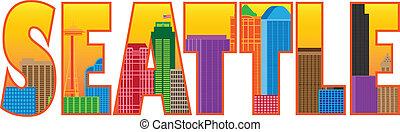 La ilustración de colores de la ciudad de Seattle