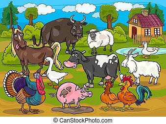 La ilustración de dibujos animados de animales de granja