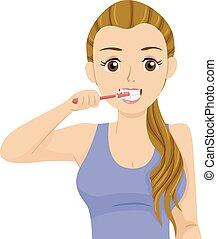 La ilustración de dientes de una adolescente