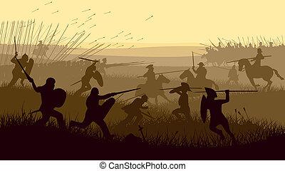 La ilustración de la batalla medieval.