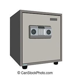 La ilustración de la caja fuerte está aislada en el fondo blanco