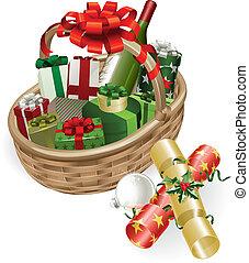 La ilustración de la canasta de Navidad