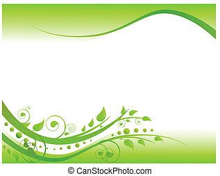 La ilustración de la frontera floral en verde