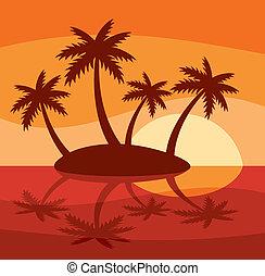 La ilustración de la isla tropical