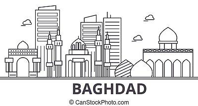 La ilustración de la línea de arquitectura de Bagdad. Vector lineal Cityscape con puntos de referencia famosos, vistas de la ciudad, iconos de diseño. Landscape wtih derrames editables