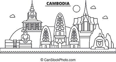 La ilustración de la línea de arquitectura de Camboya. Vector lineal Cityscape con puntos de referencia famosos, vistas de la ciudad, iconos de diseño. Landscape wtih derrames editables