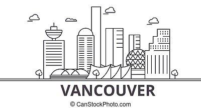 La ilustración de la línea de arquitectura de Vancouver. Vector lineal Cityscape con puntos de referencia famosos, vistas de la ciudad, iconos de diseño. Landscape wtih derrames editables