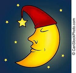 La ilustración de la luna dormida