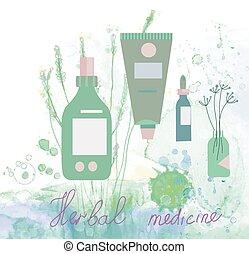 La ilustración de la medicina de hierbas con botellas