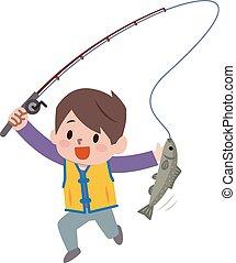 La ilustración de la pesca del chico de dibujos animados
