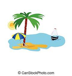La ilustración de la playa con cosas en blanco