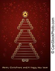 La ilustración de la tarjeta de Navidad de año nuevo