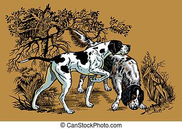 La ilustración de perros de caza