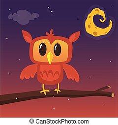 La ilustración de un gran búho cornudo en una rama que silueta la luna llena.