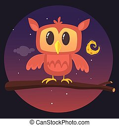 La ilustración de un gran búho cornudo en una rama que silueta la luna llena