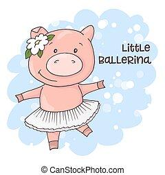 La ilustración de un lindo cerdo de dibujos animados en un fondo azul. Vector