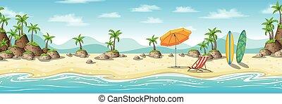 La ilustración de un paisaje costero tropical con sillones, paraguas y tabla de surf