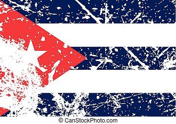 La ilustración de una bandera en decadencia de Cuba