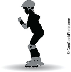 La ilustración de una chica en patines