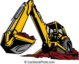 La ilustración de una excavadora