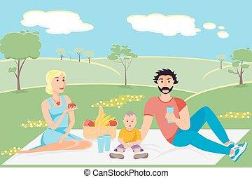 La ilustración de una familia feliz