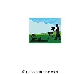 La ilustración de una familia teniendo un picnic