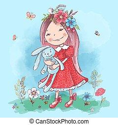 La ilustración de una linda chica de dibujos animados con un juguete en un fondo azul. Vector