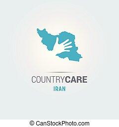 La ilustración de una mano aislada que ofrece firma con el mapa de Irán