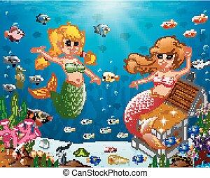 La ilustración de una sirena bajo el mar