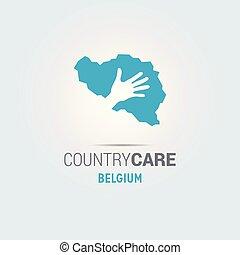 La ilustración de unas manos aisladas que ofrecen firmar con el mapa de Bélgica