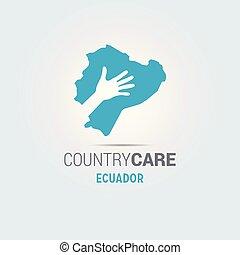 La ilustración de unas manos aisladas que ofrecen firmar con el mapa de Ecuador