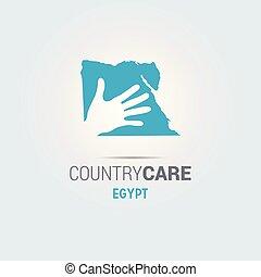 La ilustración de unas manos aisladas que ofrecen firmar con el mapa de Egipto