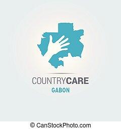 La ilustración de unas manos aisladas que ofrecen firmar con el mapa de Gabón
